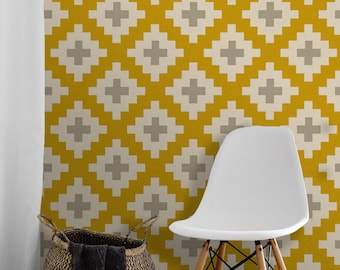 Southwest / Gold and Gray • Easy to Apply Removable Peel 'n Stick Wallpaper