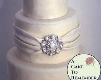Pearl band DIY wedding cakes edible brooch, cake brooch, edible diamonds, edible jewels, edible cake jewels,  sugar gems, gumpaste brooch
