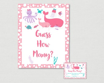 Pink Under The Sea Guess How Many Game / Nautical Baby Shower / Under The Sea Baby Shower / Candy Guessing Game / INSTANT DOWNLOAD A180