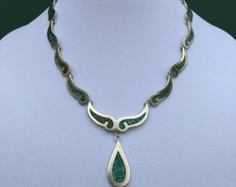 """Sterling Silver Turquoise Tear Drop 18"""" Long Necklace"""