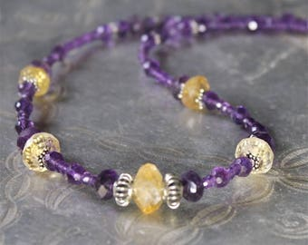 Faceted Citrine and Amethyst gemstone necklace, 925 Silver