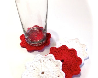 Red And White Crocheted Coasters-Set Of Four