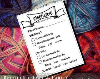 "Care Instruction Printable PDF Cards for Crocheters ""Crocheted with love and care"" Tags for Handmade Crochet Crafts - Great for Craft Shows"