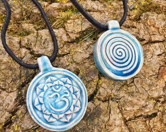 Ceramic Om Pendant Necklace, Ceramic Pendant, Boho Necklace, Om, Spiritual Jewelry, Yoga Jewelry, Yoga Gifts, Hippie Gifts, Zen Gifts