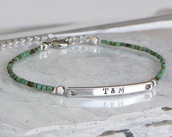 Initial Bracelet Name Bracelet Turquoise Bracelet Silver Gold Name Bar Bracelet Initial Name Plate Bracelet Custom Turquoise Bracelet