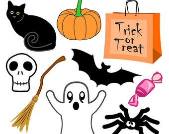 Halloween Clipart, Halloween Clip Art, Halloween Art, Black Cat Clipart, Spider Clipart, Skull Clipart, Digital Download