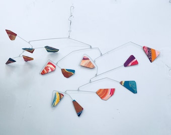 Modern Art Mobile READY TO SHIP One of a Kind Original Hand Painted Mobile In Warm Orange and Gold with Cool Blue Purple