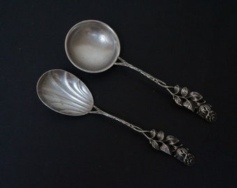 800 silver cream or sugar spoon shell Hildesheimer Rose Antiko Vintage Made in Germany Hildesheim Flatware cutlery demitasse teaspoon