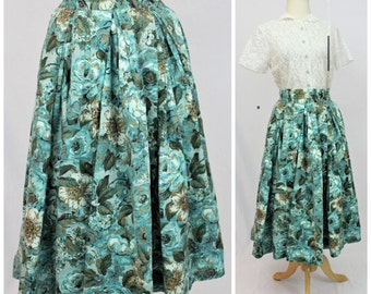 Vintage 40's 50's Aqua Cabbage ROSE Barkcloth Gold Metallic Novelty dress Skirt Full Sweep Skirt Amazing pin up