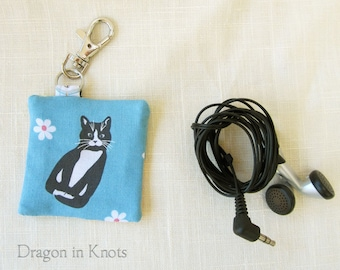 Tuxedo Cat Earbud Case - Guitar Pick Holder, Blue Cotton Fabric Keychain Pocket with Swivel Clip, Gift for Cat Lover, yellow floral