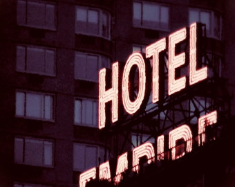 New York City - 8x10 photograph - Neon Hotel Sign - fine art print - vintage photography - travel art