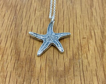 Solid Silver Starfish necklace, Handmade silver Starfish necklace, Starfish Necklace, chunky, starfish pendant, silver, starfish, necklace