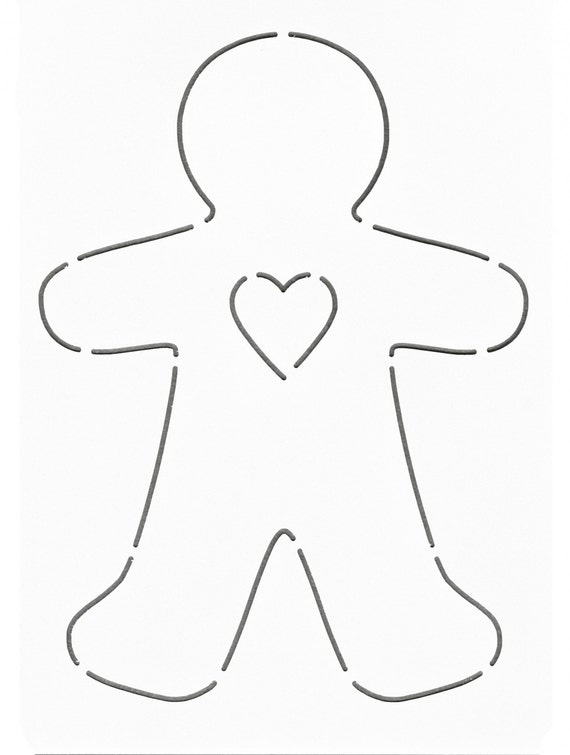 Notion Stencil Template Gingerbread Man Heart Layer
