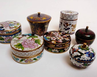Vintage cloisonne pillbox lot
