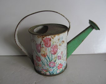Vintage Water Can Garden Tools Water Jug Can with Spout Tulips Bumble Bees Garden Decor Garden Shed Decor Front Porch Decor Spring Summer