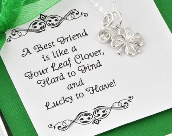 Four Leaf Clover Necklace w/ gift box, Lucky Charm Necklace, Maid Of Honor Gift, Bridesmaid Gift,  Birthstone Jewelry, Gift For Her