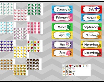 Printable Month Labels and Calendar Squares in a Zip File. Includes PDF files.