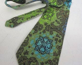 Hawaiian Tie 1970's Mad Men Neck Tie Wide Tie