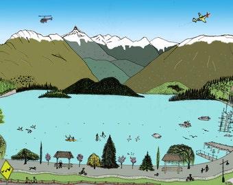 Lake landscape print