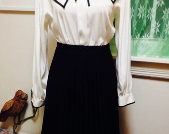 Vintage Black Pleated Skirt, Accordion pleats