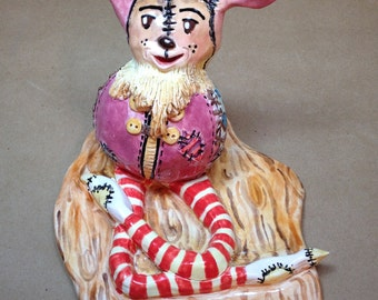 """One of a kind """"Snoofle"""" sock eating whatchamacallit hand build hand painted original character"""