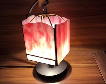 Pink Stained Glass Table Lamp H&T