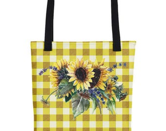 Sunflower Bouquet on Yellow Gingham Pattern Tote Bag