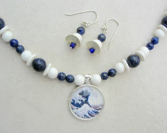 Hokusai's Great Wave, Glass Domed Silver Pendant, Famous Old  Ukiyo-e Print, Blue Lapis & White Lucite Beads, Necklace Set by SandraDesigns