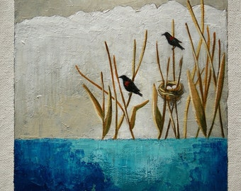 Bird painting, red-winged blackbird picture, pond & reeds image, original wall art, 6x6 inches acrylic painting within an 11x14 inches mount