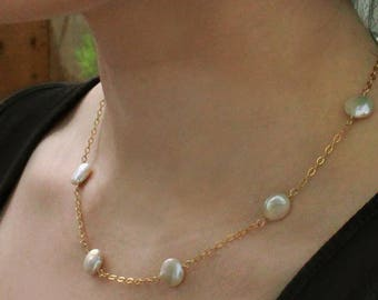Coin Pearl Station Necklace, White Freshwater Pearl, Coin Pearl Choker
