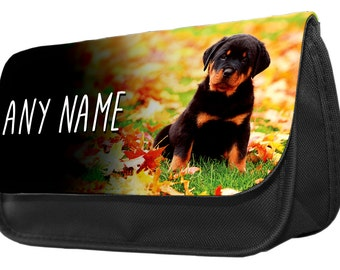 Personalized Rottweiler Puppy Pencil Case - Make Up Bag - Game Console Boys Girls Gift Birthday Christmas