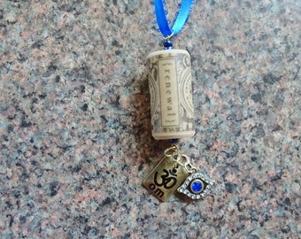 Blue Evil Eye Wine Cork Ornament, Om Wine Cork Ornament, Wine Bottle Charm, Renewal Wine Cork Ornament