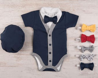 Bow Tie Baby Boy Cardigan, Short Sleeve Navy Cardigan, Bodysuit, Hat & Bow Tie Set, Take Me Home Outfit Baby Boy, Newborn Boy Coming Home