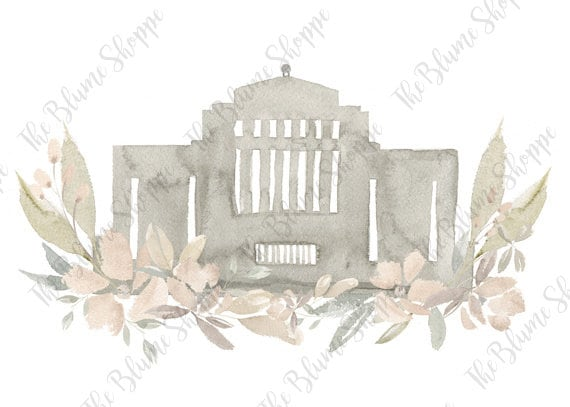 Cardston Temple Neutral Floral