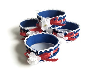 Patriotic Napkin Rings, Set of Four Crochet Napkin Rings, Red White and Blue Napkin Holders