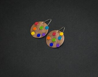 Polka dot earrings Colorful funky earrings Rainbow earrings Funky jewelry Geometric earrings Rainbow jewelry Round earrings Contemporary