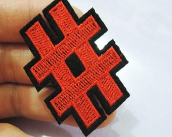 Number Sign harsh pound sign Patches - Iron on or Sewing on Patch Letter Patches Black White Patch Embellishments Embroidery Red Patch