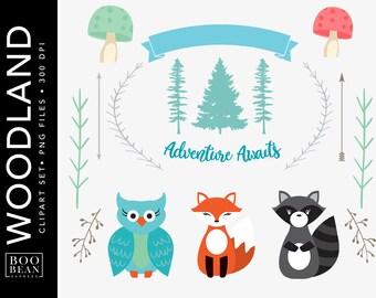 Woodland Clipart, Woodland Clip art, Woodland Animal Clipart, Woodland Animal Clip art, Forest Animal Clipart, Fox Clipart, Owl Clipart