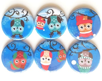 Owls, Magnets, Winter-y Owls, Cute Cartoon Owls, Fridge Magnets, Adorable Fun Owls, Cute Gift, Kid's Magnets, Refrigerator Magnet, Set of 6