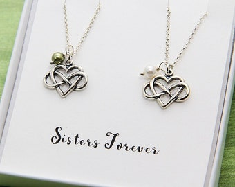 Sister Necklace, Sisters Necklace, Personalized Necklace, Birthday Sisters Gift, Sisters Gift Idea, Two Sisters Jewelry, Set of 2 Necklace