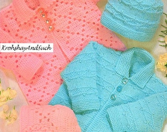 Baby Matinee Coats, Bonnet And Cap, Knitting & Crochet Pattern. PDF Instant Download.