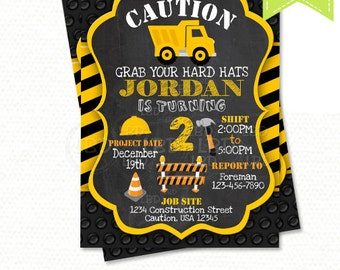 Construction Birthday Invitation, Dump Truck Invitation, Chalkboard Invitation - Style 2 - YOU PRINT