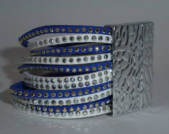 Blue and white suede Cuff Bracelet