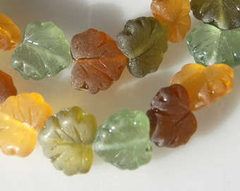 Czech Mixed Matte Picasso Glass Maple Leaf Beads  11x13mm (20) 1016-P