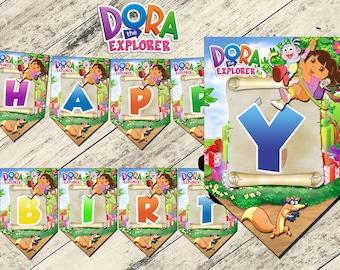 Dora the explorer banner,dora the explorer birthday banner,dora the explorer birthday party,dora the explorer,dora the explorer printable