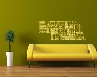 Nebraska Word Cloud, Nebraska Wall Art, Omaha, Lincoln Decal, State, Vinyl Wall Lettering, State Art, Wall Decal, Home Art, Office Decor
