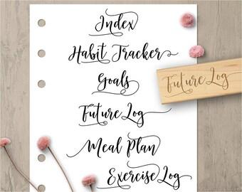 Bullet Journal Stamps, Planner Stamps, Index Stamp, Future Log Stamp, Goals Stamp, Page Title Rubber Stamp Set, Meal Plan Stamp 174