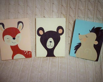 Forest Friends~Nursery Art~Whimsical Decor~Hand Painted