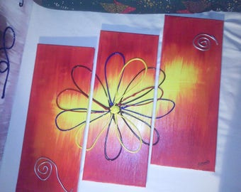Multi color embossed triptych painting