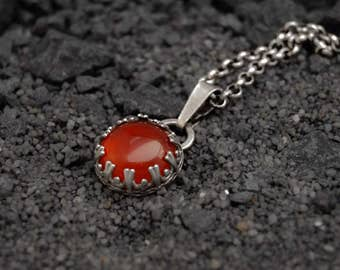Sterling silver handmade Carnelian pendant, orange red cabochon, gallery wire setting, handmade pendant